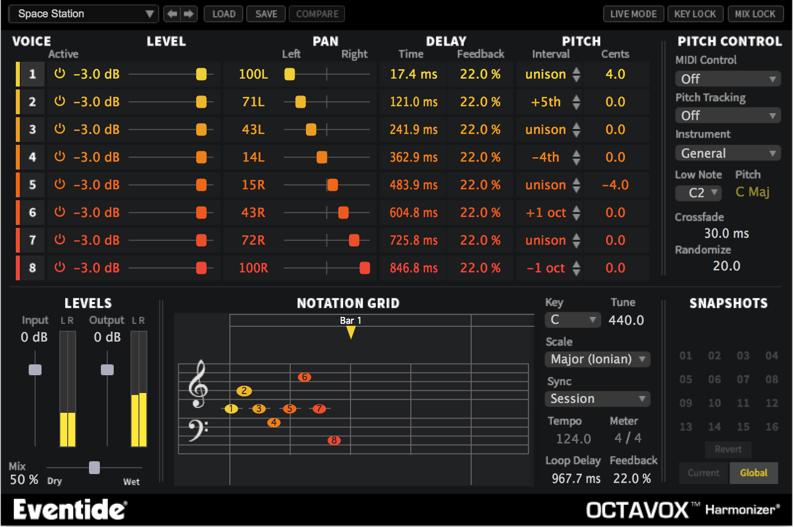 Octavox 8 Voice Diatonic Pitch Shifting with MIDI