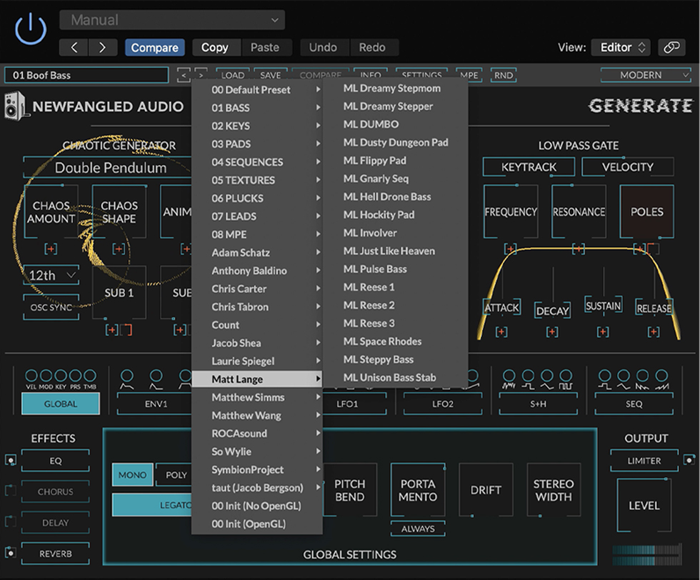 Generate synth plugin presets