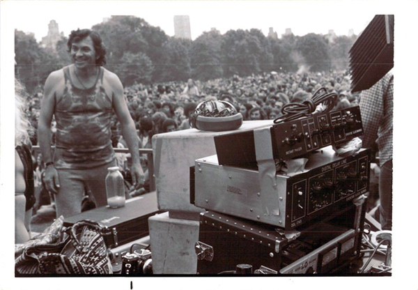 Honoree Bill Graham with Eventide gear at Jefferson Airplane concert in NYC Central Park
