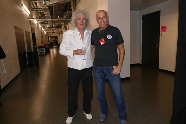 Brian May of Queen (left) with Richard Factor (right)
