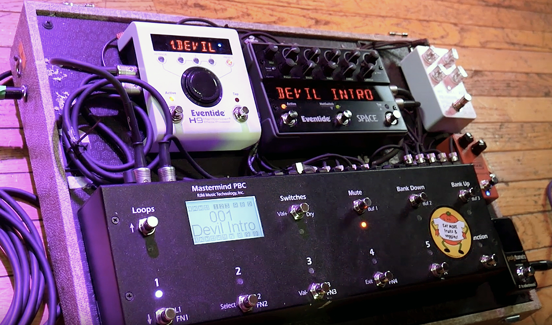 Derya Nagle's Pedalboard featuring Eventide H9 and Space pedals