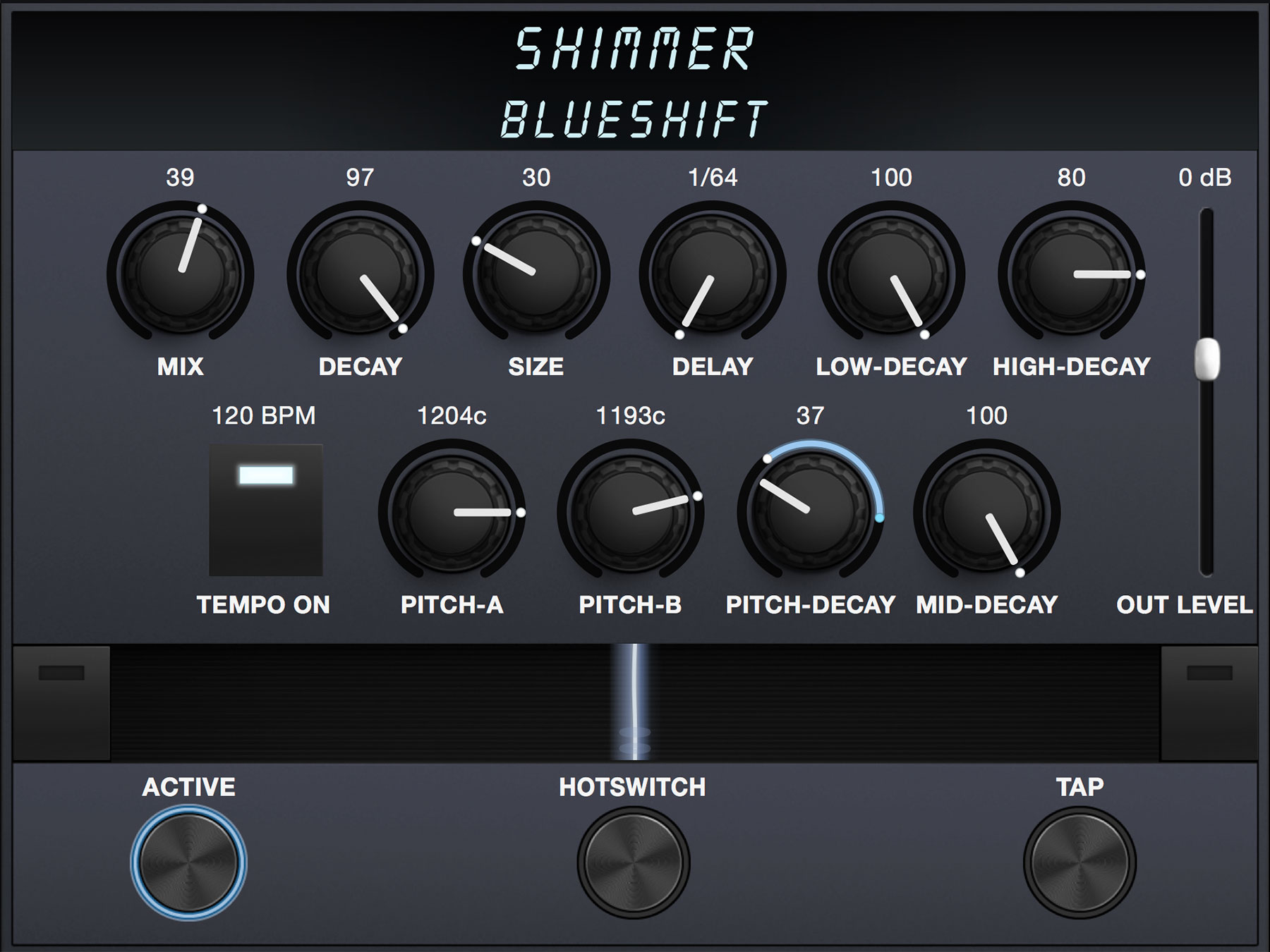 Screenshot of Shimmer algorithm preset Blueshift by Derya Nagle