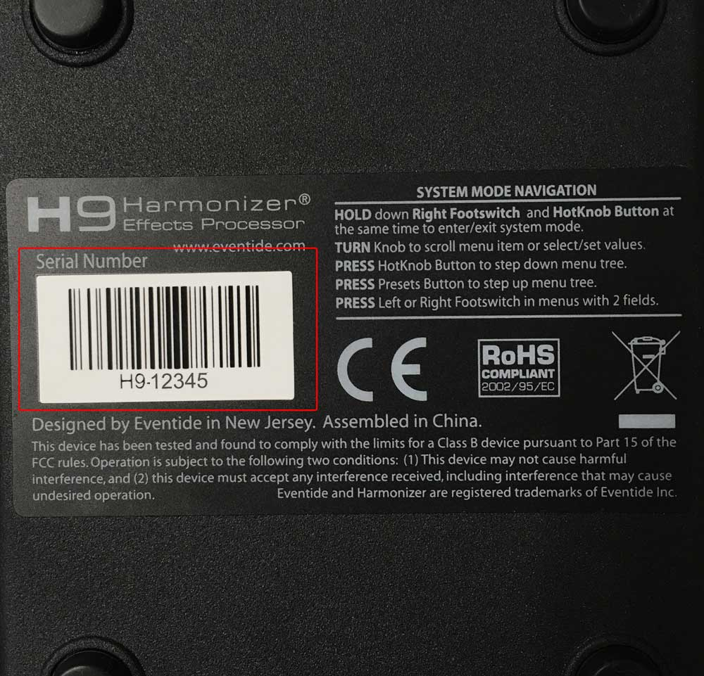 H9 serial number on bottom