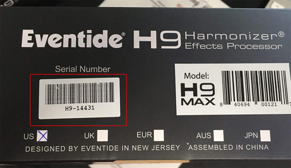 H9 serial number on box