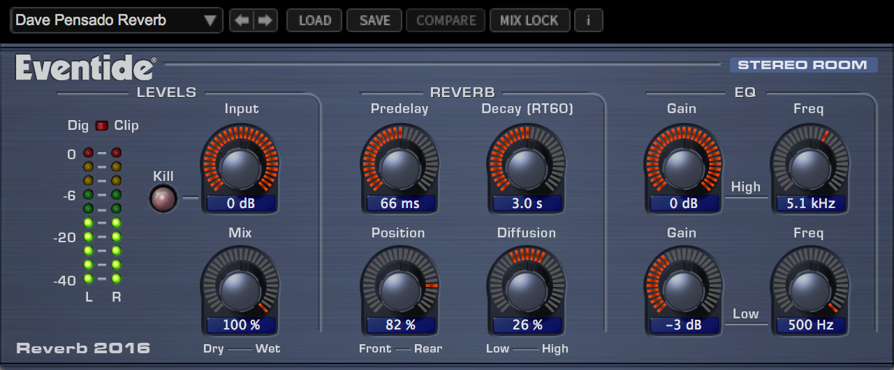 Eventide 2016 Stereo Room Reverb Plug-in AAX, VST2/VST3, AU