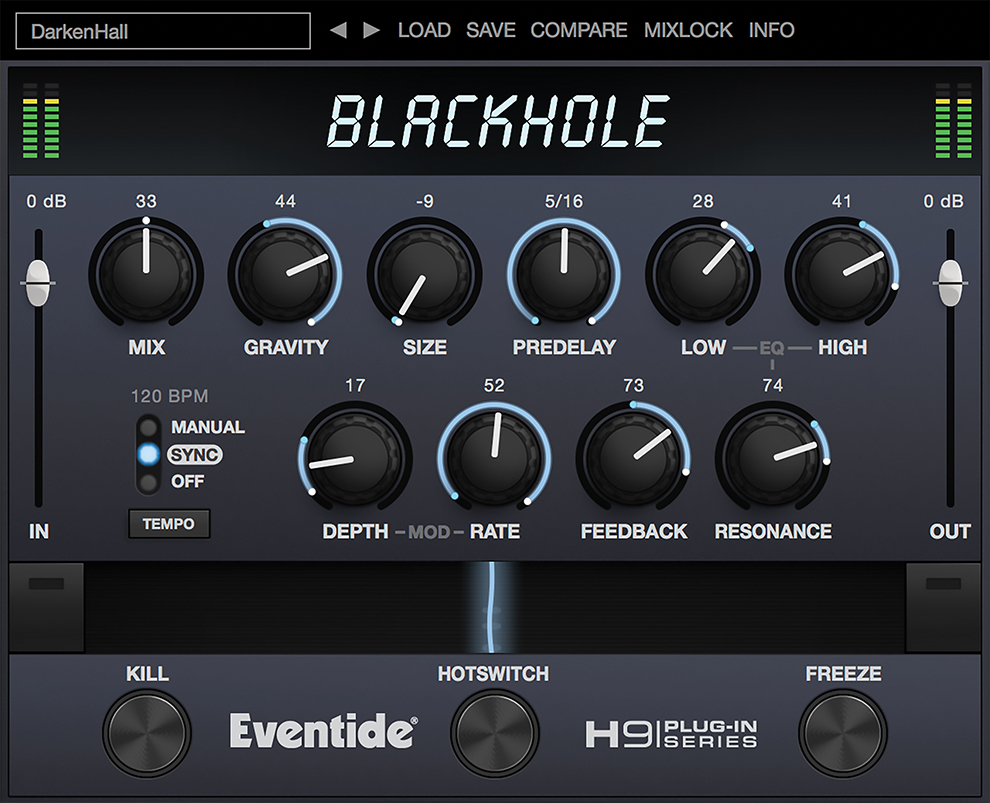 Blackhole reverb plug-in screenshot