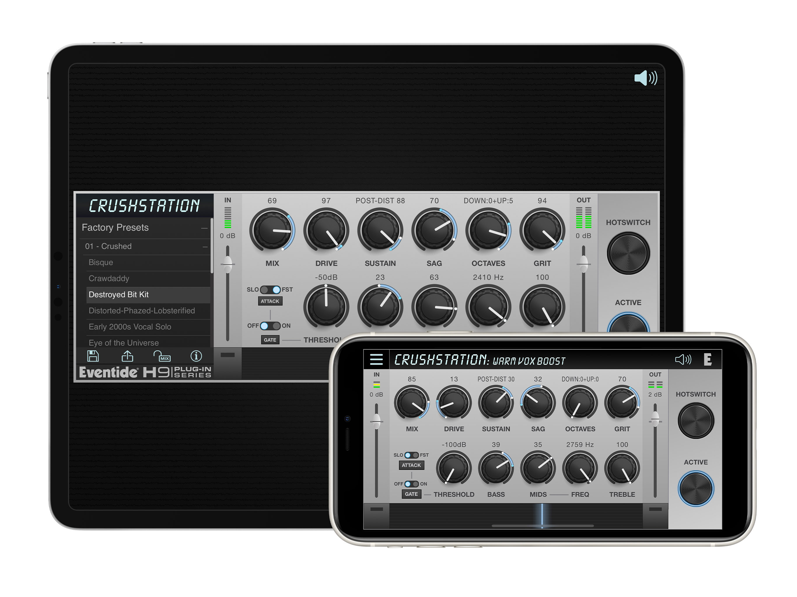 Crushstation distortion overdrive audio effect  - ipad - iphone - auv3 plugin - inapp - ios effect