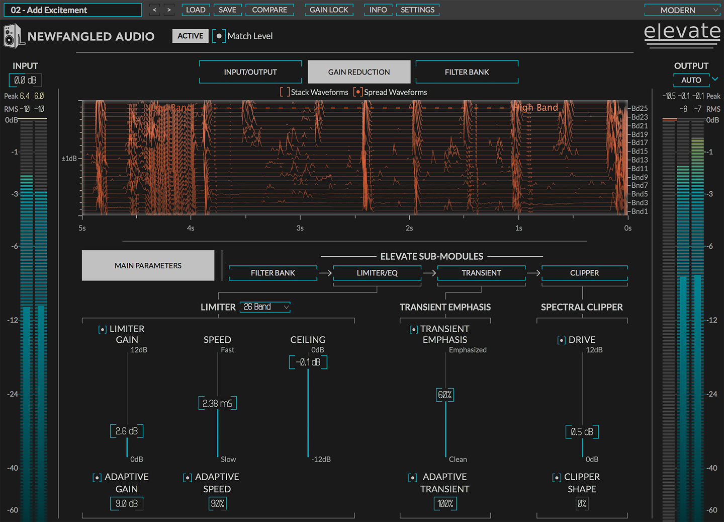 Elevate Mastering Limiter plug-in screen shot