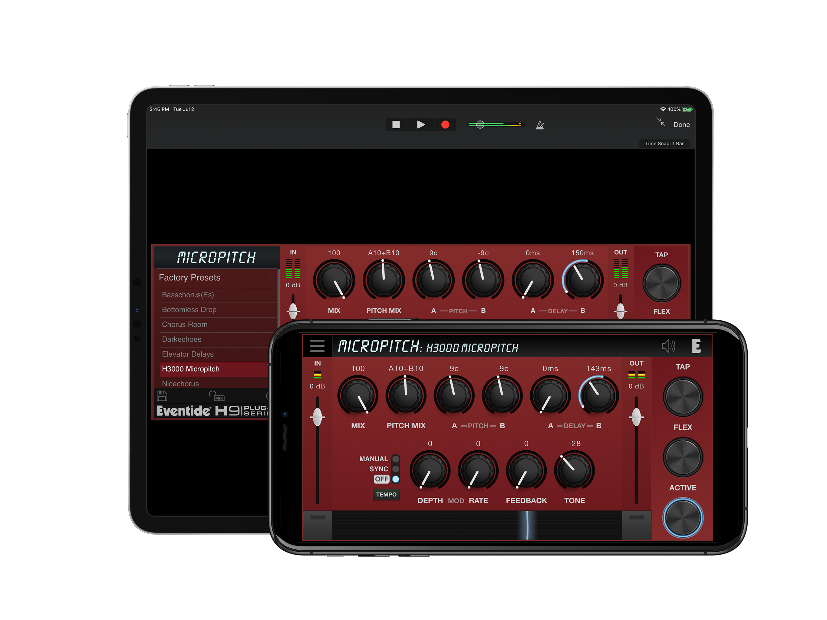 Eventide MicroPitch Plugin iOS auv3 in app purchase iapp iphone ipad pitch shift