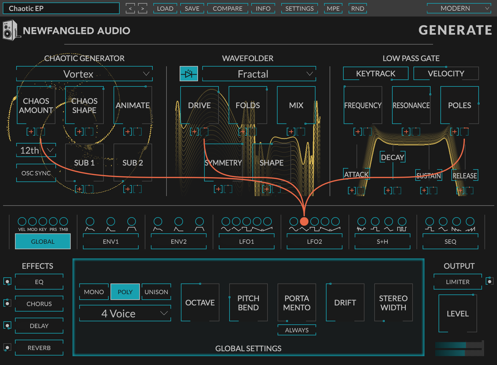 Newfangled Audio Generate Polyphonic virtual synth plugin vst aax chaos oscillator