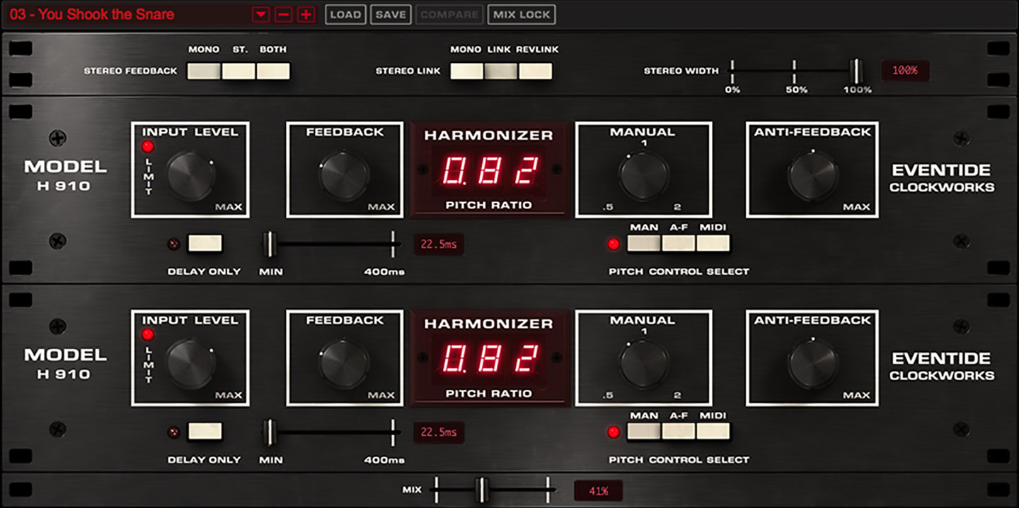H910 Dual Harmonizer® plug-in screen shot
