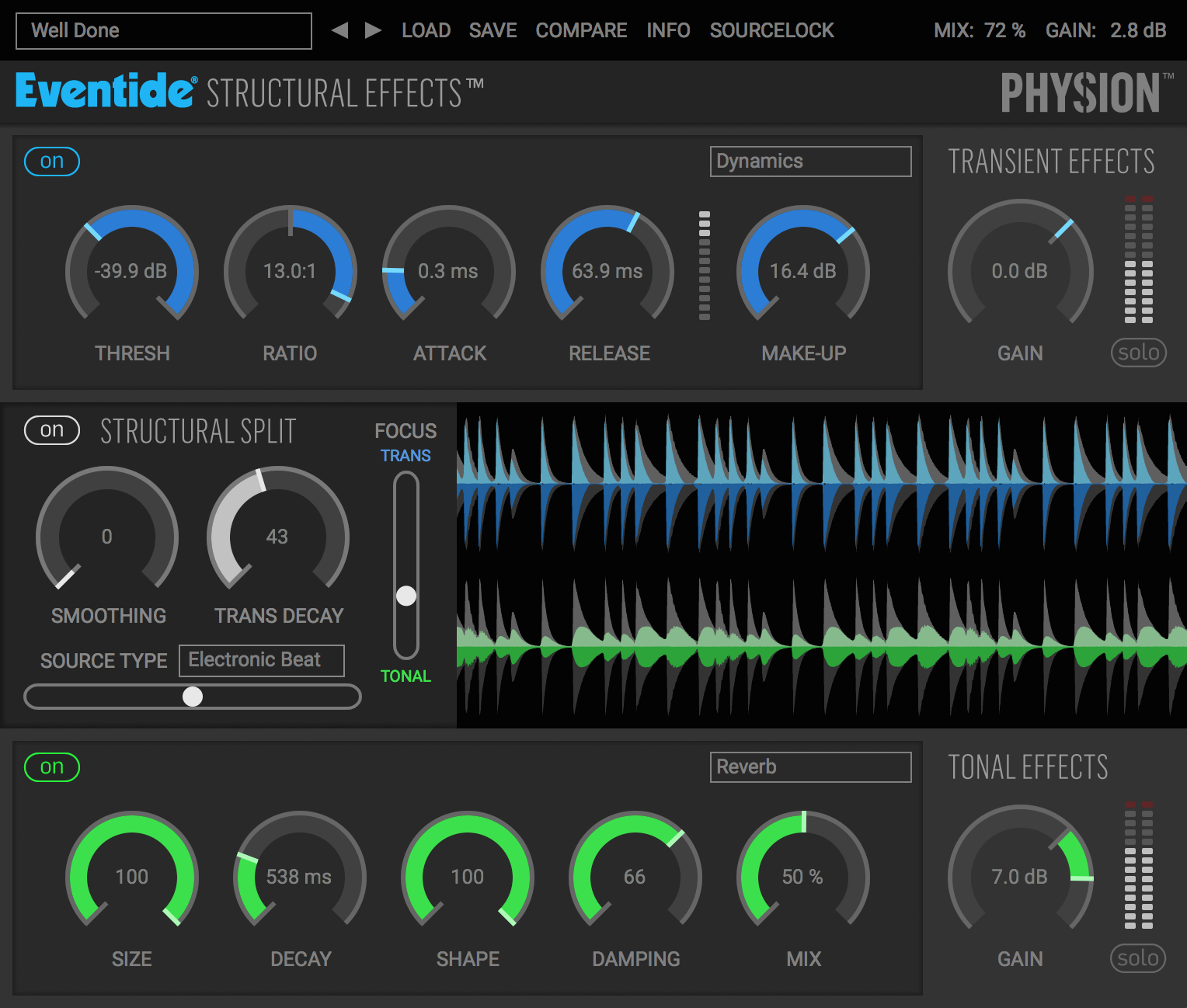 Physion/Fission plugin GUI Structural Effects Transient Tonal Separator