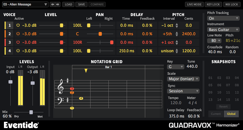 Quadravox | Eventide 4 voice pitch shifting Harmonizer® plugin