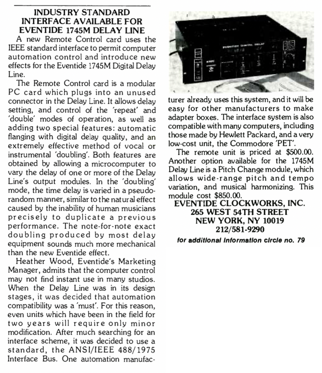 Excerpt from REP Magazine (February 1978 Issue)
