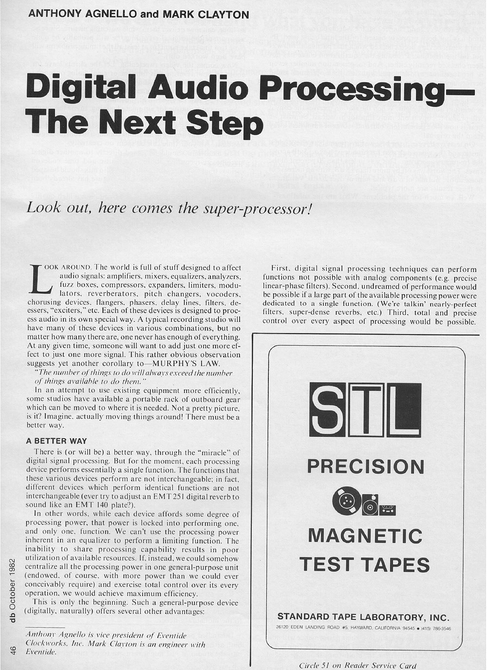 DB Magazine — Digital Audio Processing, October 1982, Page 1