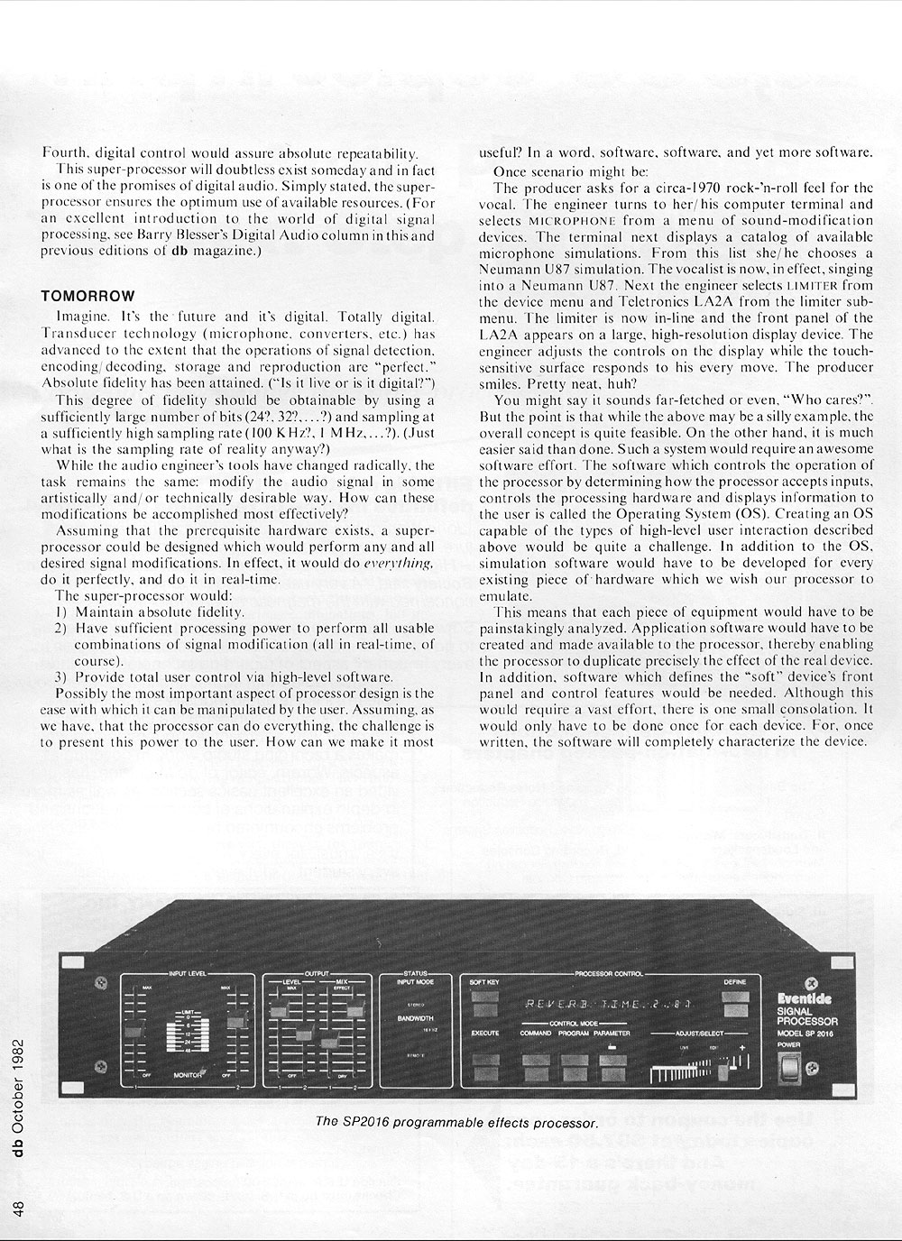 DB Magazine — Digital Audio Processing, October 1982, Page 2