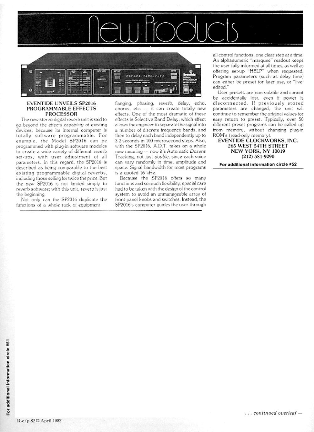RE/P Magazine New Product Review, April 1982
