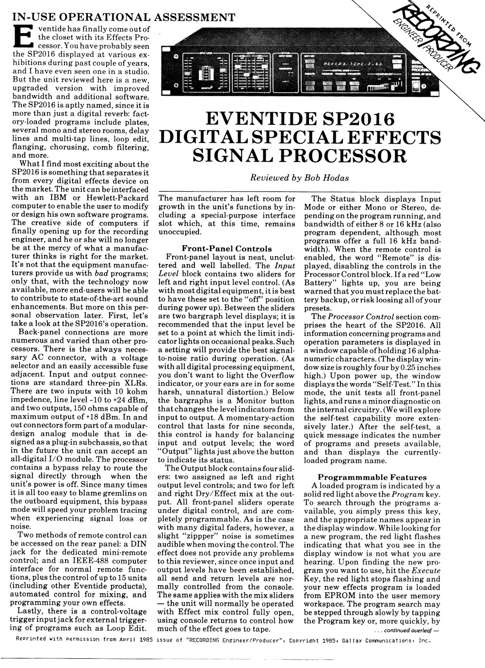 Recording Magazine Review 1985, Page 1