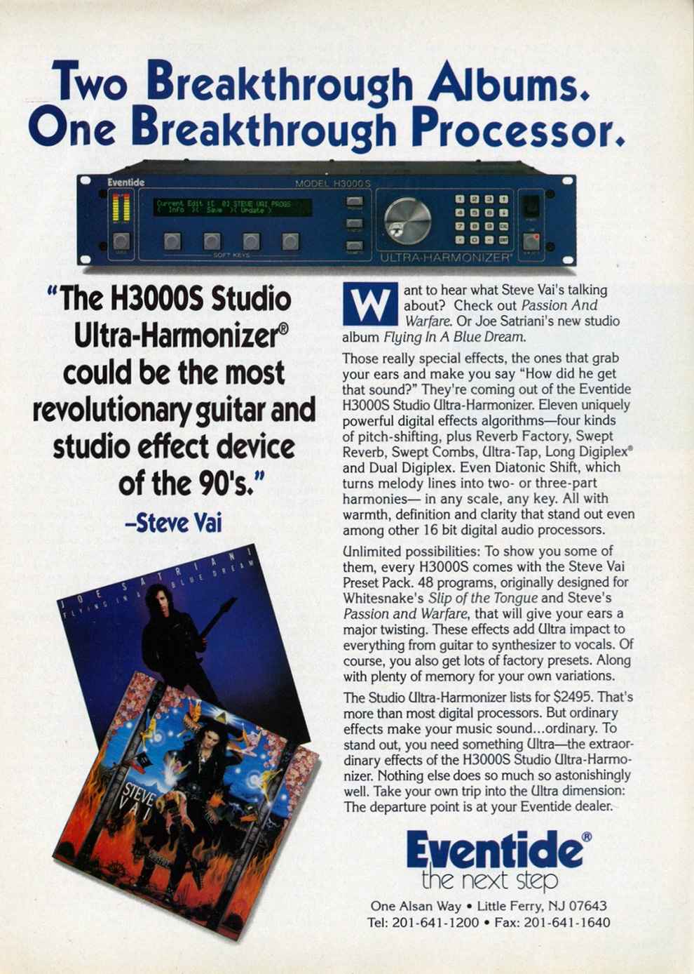 H3000 Advertisement featuring Steve Vai