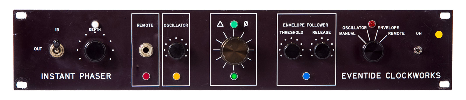 Picture of the front panel of an Eventide Instant Phaser rack mount unit.